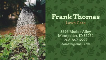 Lawn Care Business Card Template with Gardening Graphics 658b