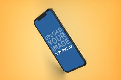 Yellow iPhone XR Mockup Floating while Facing Down 23140