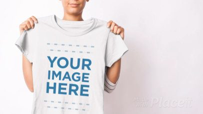 T Shirt Video Featuring a Woman Showing a Roundneck Tee to the Camera 13081a