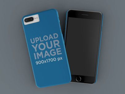 Render Mockup of an iPhone Case Lying over Another iPhone  on a Flat Surface 23160