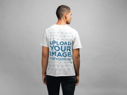 Back View T-shirt Mockup Featuring a Man With a Buzz Cut 21585