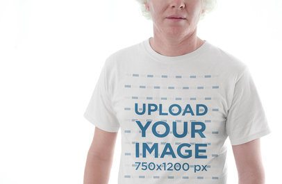 Cropped Face Mockup of a Man Wearing a Tshirt Against a Shining Background 22236