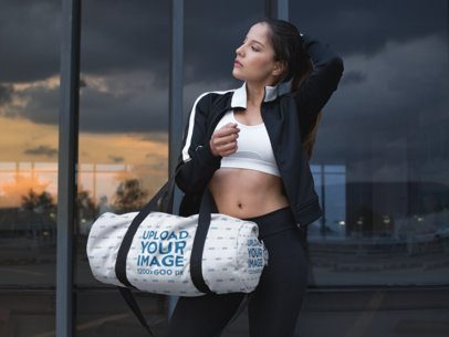 Mockup of a Girl Carrying a Gym Bag 23047
