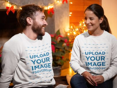 Mockup of a Couple Wearing Sweatshirts on Christmas 18043