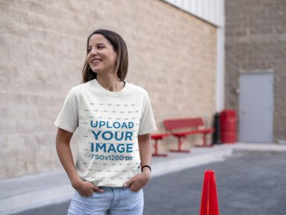 Unisex Tee Mockup of a Smiling Woman in a Parking Lot 23040