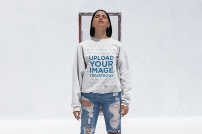 Sweatshirt Mockup of a Woman with a Lob Haircut Wearing Trendy Jeans 23118
