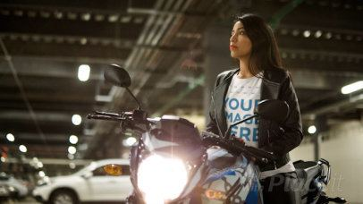 Cinemagraph of a Young Lady Wearing a T-Shirt and a Leather Jacket Sitting on her Motorcycle With Lights 13578