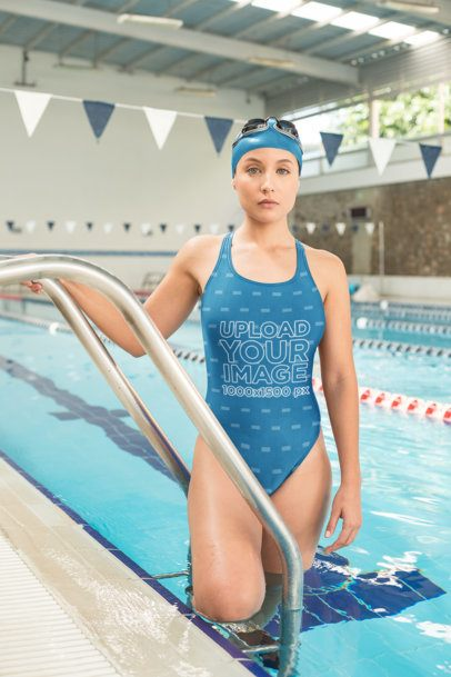 Mockup of a Female Swimmer Wearing a Swimsuit in a Pool 23305