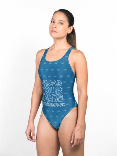 Swimsuit Mockup of a Serious Girl in a Photo Studio 23278