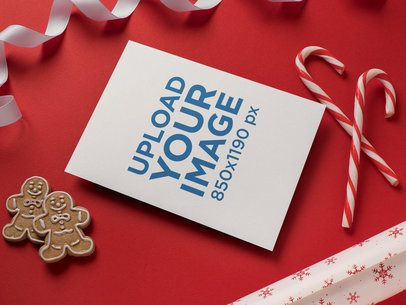 Christmas Card Mockup with Gingerbread Men and Candy Canes 23819