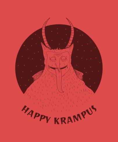Krampus T-Shirt Design Template for Christmas 825c