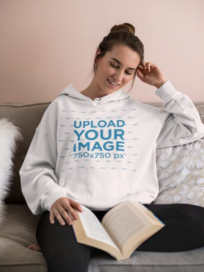 Mockup of a Laid-Back Woman Reading on a Couch 23200