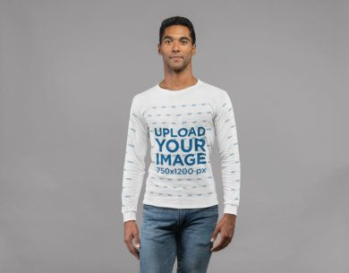 Long Sleeve T-Shirt Mockup of a Man in Plain Pose Looking at the Camera  23318