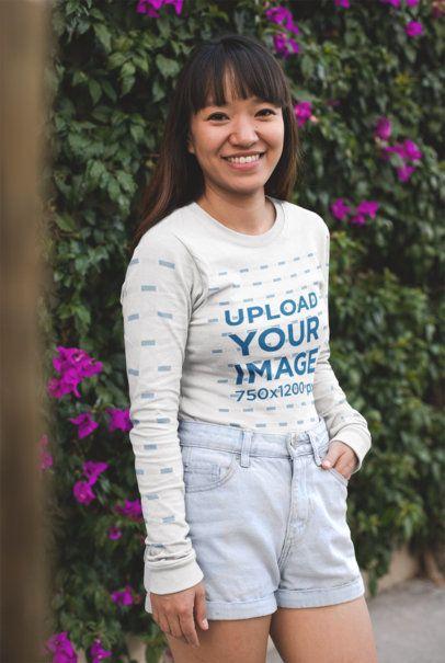 Mockup of a Smiling Woman Wearing a Long Sleeve Tshirt 23364