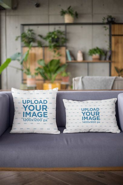 Mockup of Two Pillows on a Couch 23542
