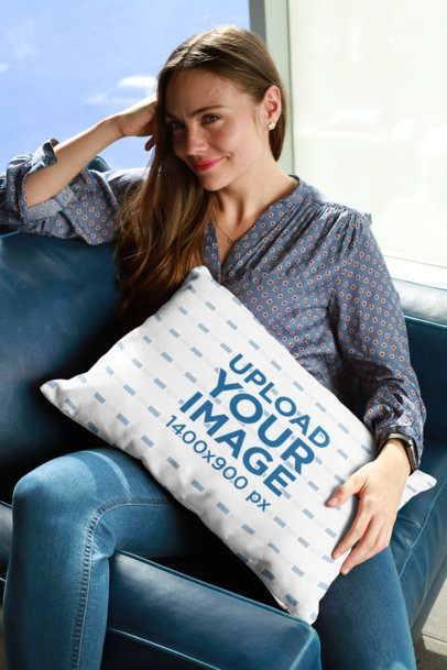 Pillow Mockup of a Smiling Woman Sitting on the Couch 23613