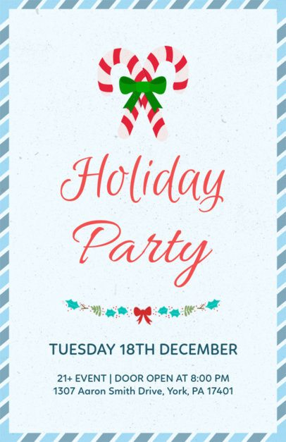 Christmas Party Flyer with a Candy Cane Illustration 843a