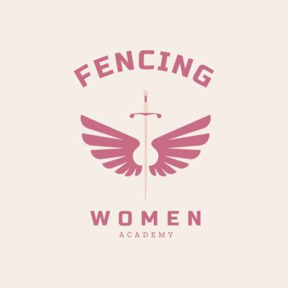 Women's Fencing Logo Design Template 1614b