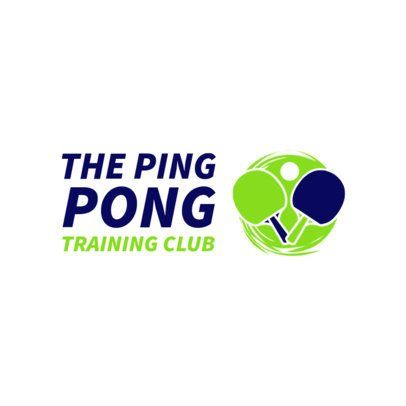 Table Tennis Logo Design Template with Two Ping-Pong Rackets Clipart 1623c