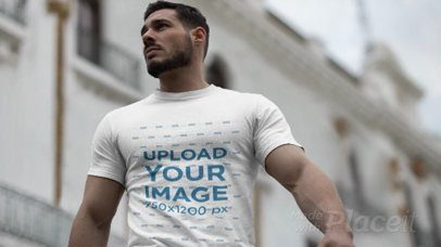T-Shirt Video with Parallax Effect of a Handsome Man with Muscles in the Street 25110