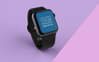 Mockup of an Apple Watch Standing Over a Surface with Two Colors 25071