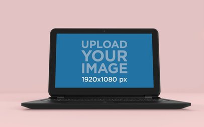 Front View Laptop Mockup Featuring a Solid Background 25059