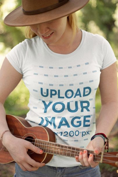 Mockup of a Woman Wearing a Tee Playing a Ukelele 21993