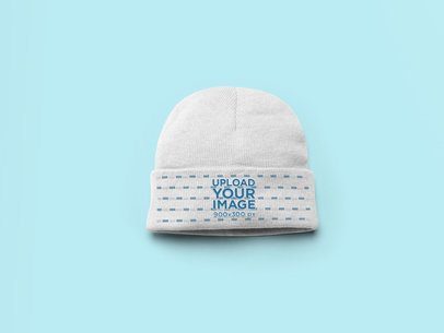 Flat Lay Beanie Mockup with a Solid Background 24564
