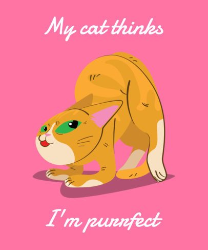 Valentine's Day T-Shirt Design Template with Cat Puns 1052d