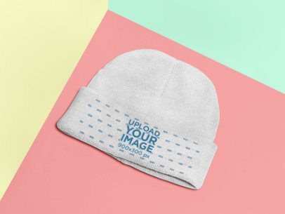 Mockup of a Beanie Lying on a Flat Surface 25188