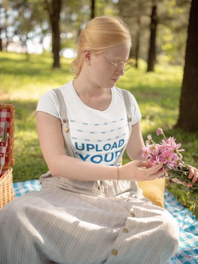 Mockup of a Woman Wearing a T-shirt at a Picnic 21998