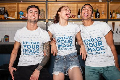T-Shirt Mockup of a Group of Friends Having Fun at the Bar 25247