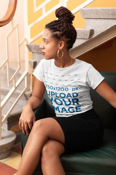 Tshirt Mockup of a Girl Sitting by a Stairway 24079
