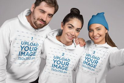 Studio Mockup Featuring Three Friends Wearing Hoodies 25702