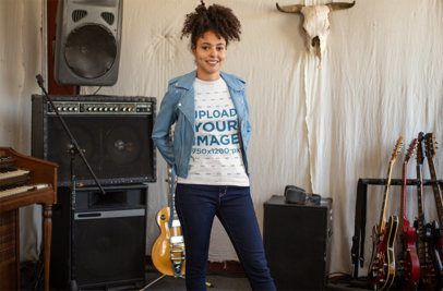 T-Shirt Mockup of a Rocker Girl in a Music Studio 24283