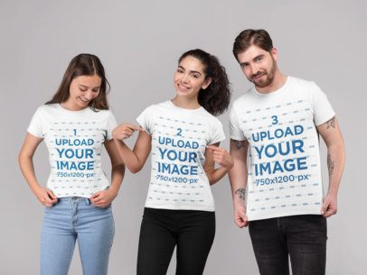 T-Shirt Mockup of a Woman with Two Friends at a Photo Studio 25694