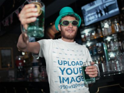 Tee Mockup of a Man Drinking a Beer on St. Patrick's Day 19570