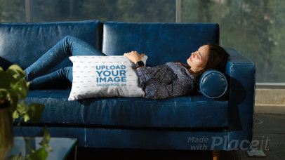Pillow Mockup of a Woman Sleeping on a Couch 26020