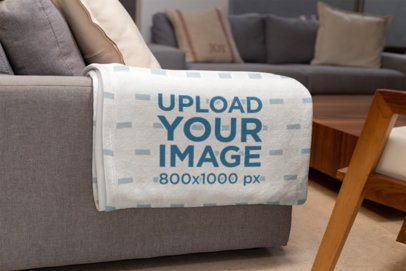 Mockup of a Throw Blanket in a Living Room Setting 24697