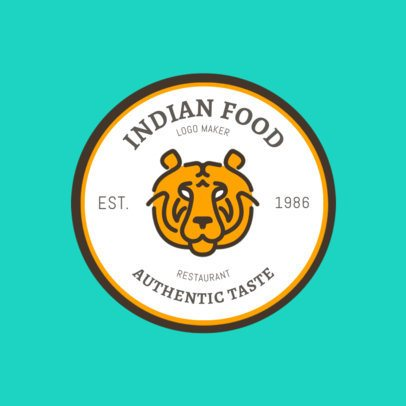 Indian Food Logo Maker with Tiger Clip Art 1827