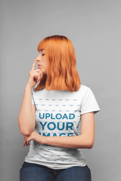 Round Neck Tee Mockup of a Redhead Girl Touching Her Nose 20842
