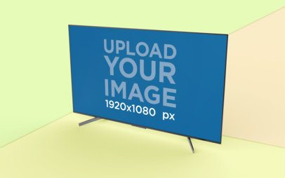 TV Mockup with a Geometric Three Color Background 26127