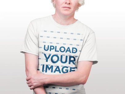 Mockup of a Man Wearing a Round Neck Tee Against a White Background 22219