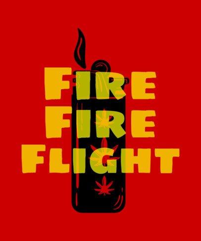 420 T-Shirt Design Template Featuring Fire Theme 1062c
