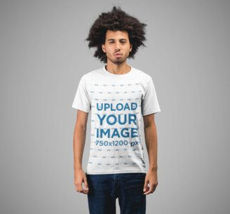 T-Shirt Mockup of a Young Man with Afro Hair 22221