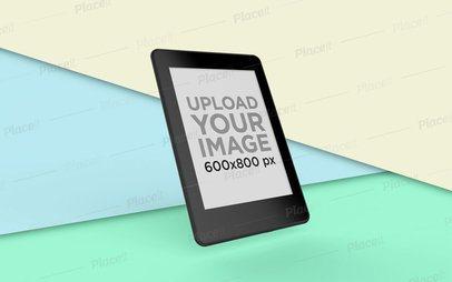 Kindle Mockup Displaying over a Split Multicolor Background 26139