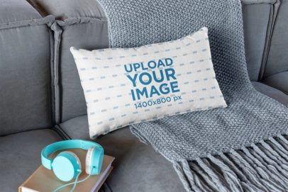 Pillow Mockup on a Couch with a Book and Headphones 25912