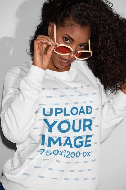 Sweatshirt Mockup of a Woman with Sunglasses Smirking 21908