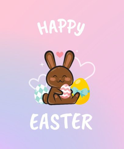 Simple Easter Bunny T-Shirt Design Template 234f