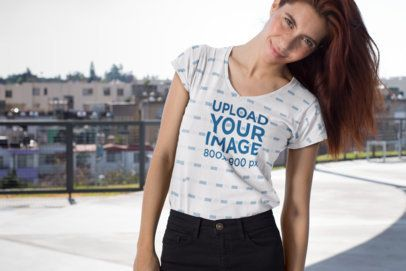 Mockup of a Girl with Freckles Wearing a V-Neck T-Shirt  24969